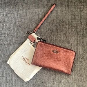 Metallic Coach Wristlet Wallet